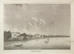 'Views along the Hooghly'.  River Hooghly.  Uncoloured aquatint with etching by James Moffat, Calcutta, 1798